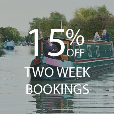 15% OFF two week bookings